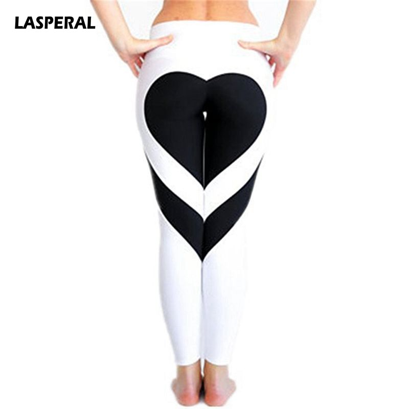 LASPERAL Fitness Women's Running Pant Heart Pattern Elastic Quick Dry Athleisure Trouser Gym Elastic Sports Legging Plus Size