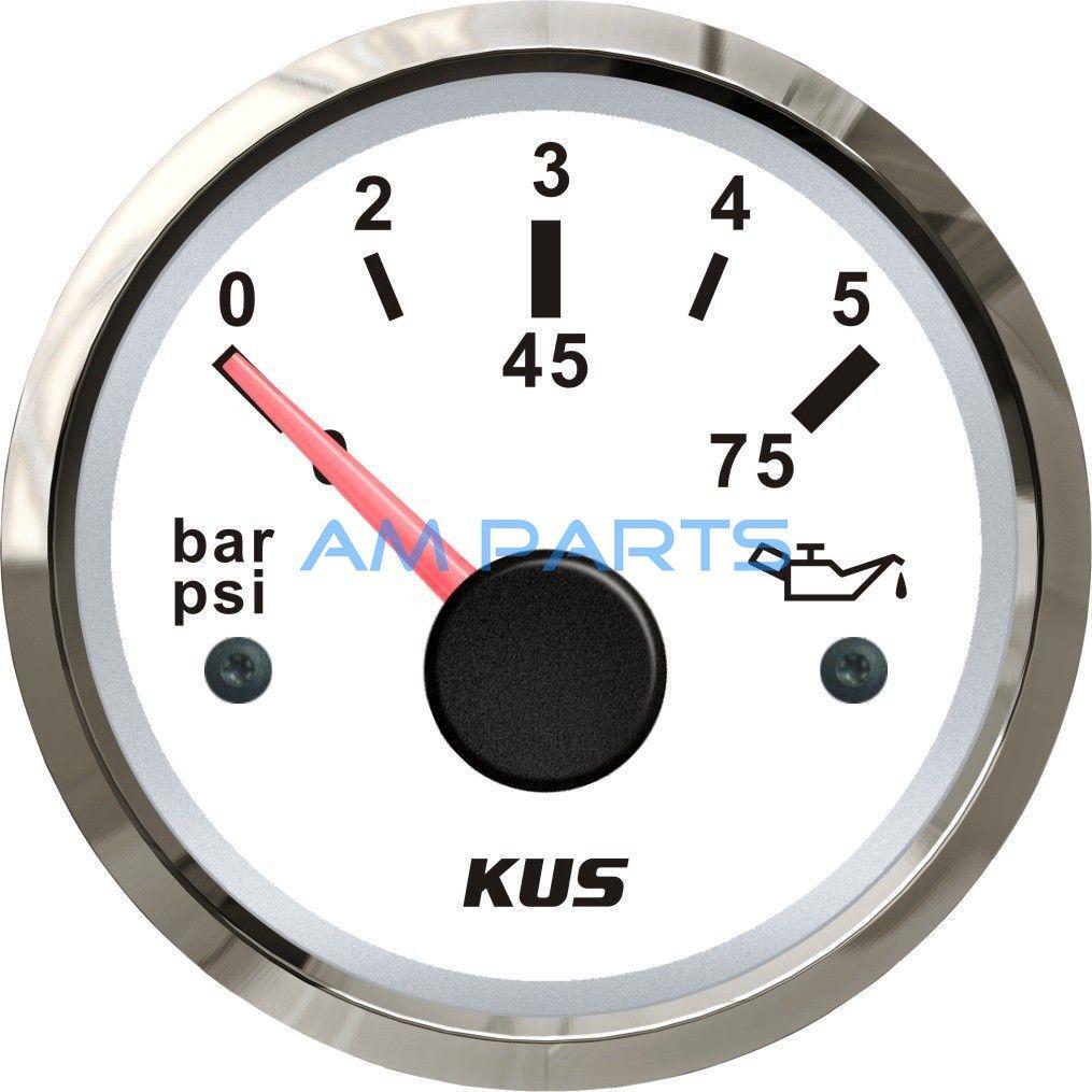 Universal KUS Boat Engine Oil Pressure Gauge Marine Outboard Inboard Motor Generator Oil Press Meter 5Bar 75PSI