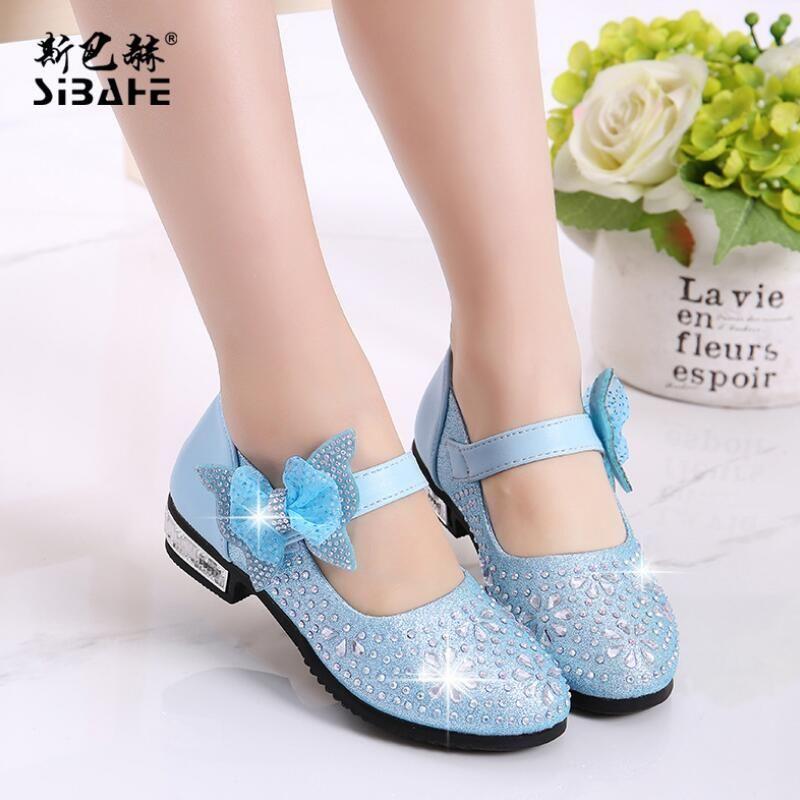 Весна осень Новый eisure девочки кожаный shoes Single shoes flash Hook & Loop