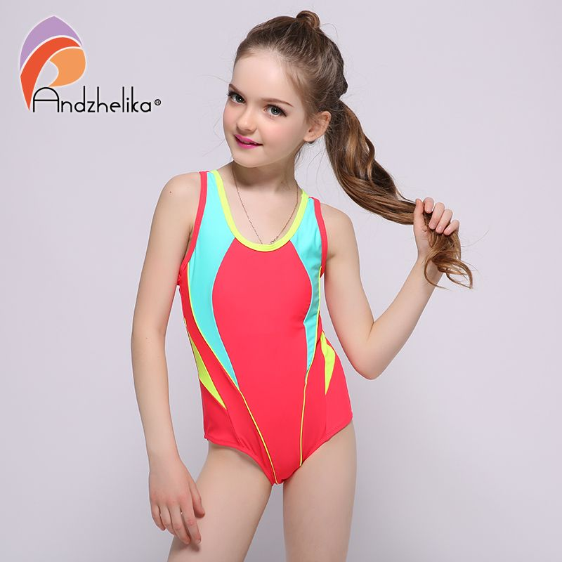 Andzhelika 2017 New Children's Swimwear One Piece Solid Patchwork Bodysuit Children Beachwear Sports Swim Suit Bathing Suit