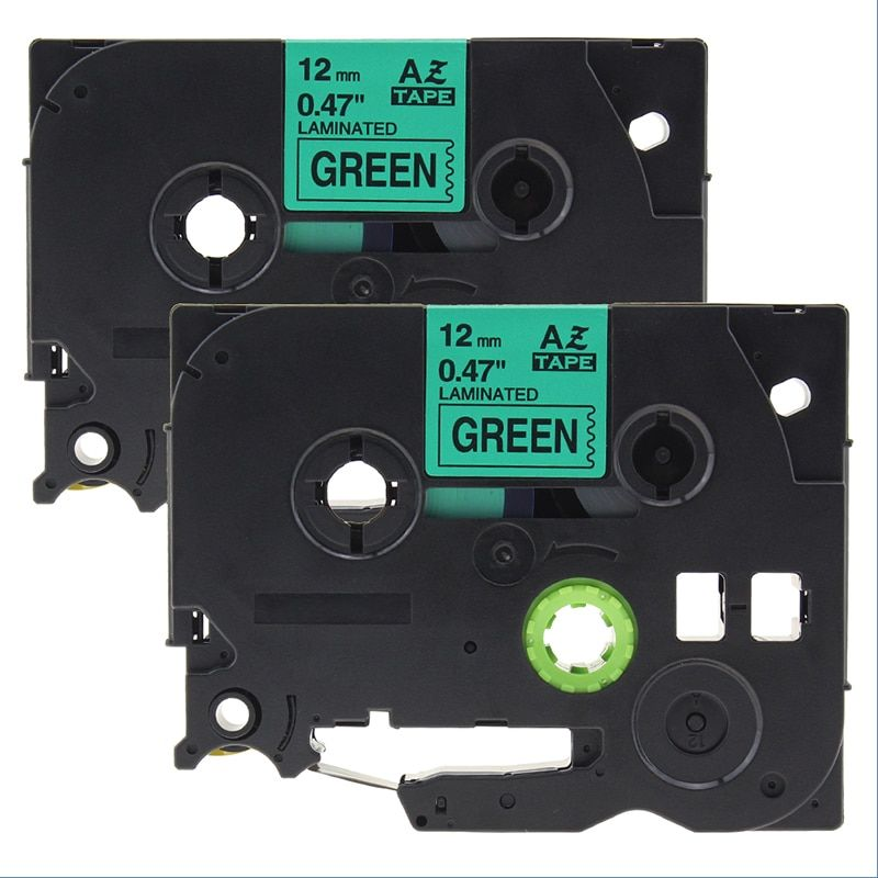 2pcs  12mm*8m Compatible for brother label tapes tze tz tapes tze731 tz731 tze 731 Tze-731 black on green P-touch label