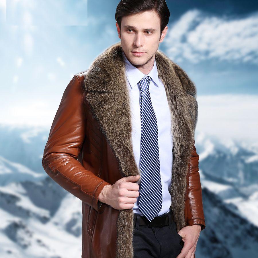 Winter 2016 Fashion Men's Genuine Real Australia Sheepskin Fur Long Coat & Jacket Male Thick Warm Clothing Brown Black Plus Size