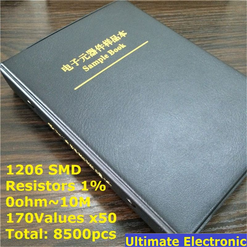 1206 1% SMD Resistor Sample Book 170values*50pcs=8500pcs 0ohm to 10M 1% 1/4W Chip Resistor Assorted Kit
