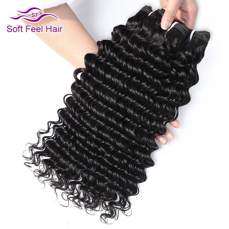 Doux toucher cheveux 1/3/4 pièces cheveux brésiliens armure paquets Extensions de cheveux humains 8-28 pouces Remy cheveux vague profonde faisceaux couleur naturelle