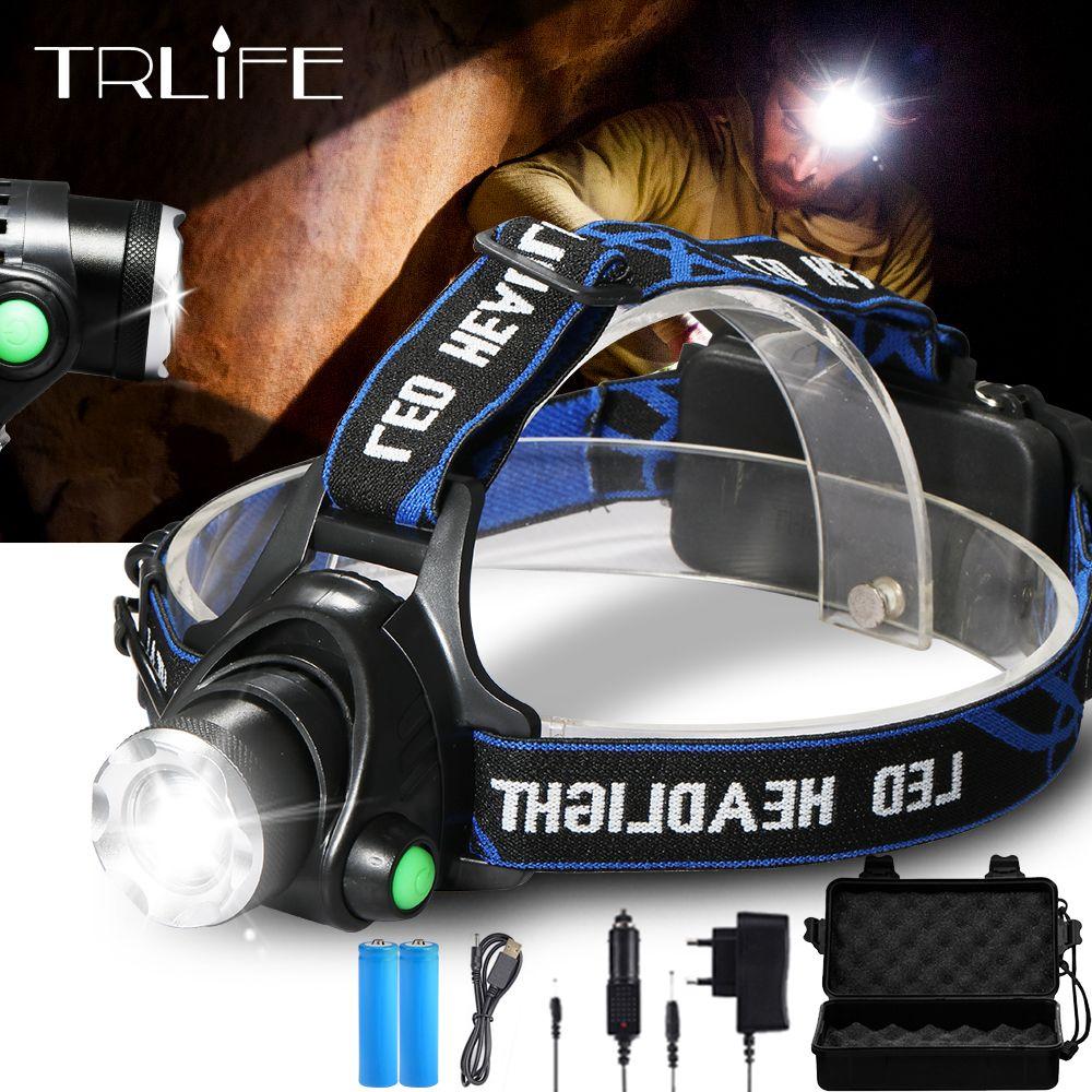 12000LM phare de pêche V6 L2 LED phare Zoomable Camping torche lampe frontale lampes de poche lampe 3 Mode lumière utilisation 2*18650 batterie