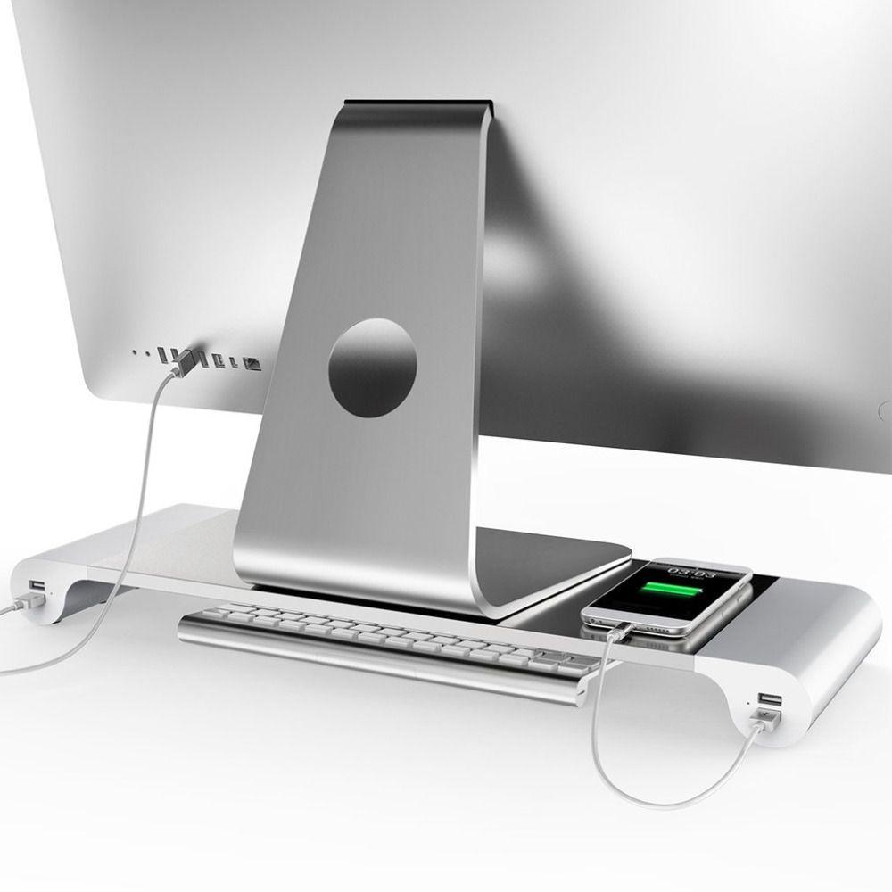 2017 новое поступление алюминиевый сплав монитор Стенд пробел Док стол стояк with4 порта USB Для iMac MacBook ноутбук гаджеты