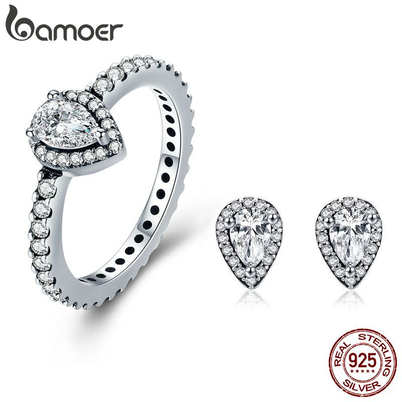 BAMOER Authentic 100% 925 Sterling Silver Radiant Teardrop Earrings Ring Clear CZ Jewelry Set Wedding Engagement Jewelry Gift