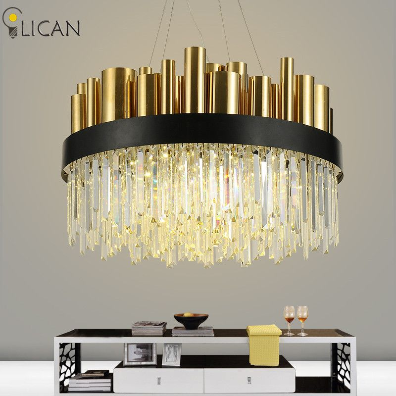 LICAN Post-modern luxury crystal chandelier for lobby living room Villa Gold Hanging Chandelier Lighting fixtures home decor