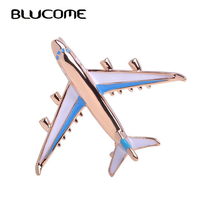 Blucome Pequeño Aeroplano Lindo Broche Azul Del Esmalte de Oro de color de Metal Broches Pin Joyería Modelo de Avión de Combate Traje de Ropa Clips