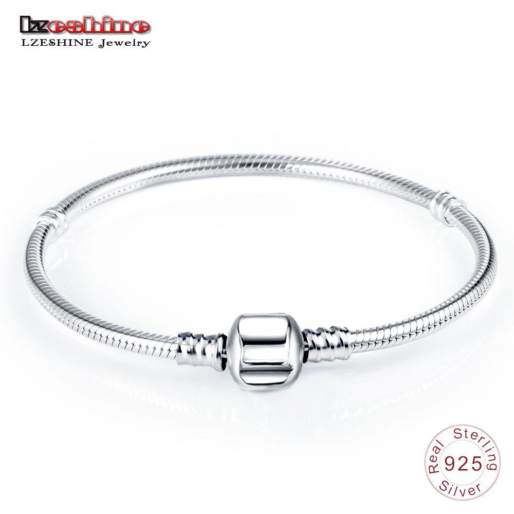 LZESHINE Authentic 100% 925 Sterling Silver Basic Snake Chain Clasp Bracelet & Bangle Luxury Jewelry <font><b>Gift</b></font> PSBR0018