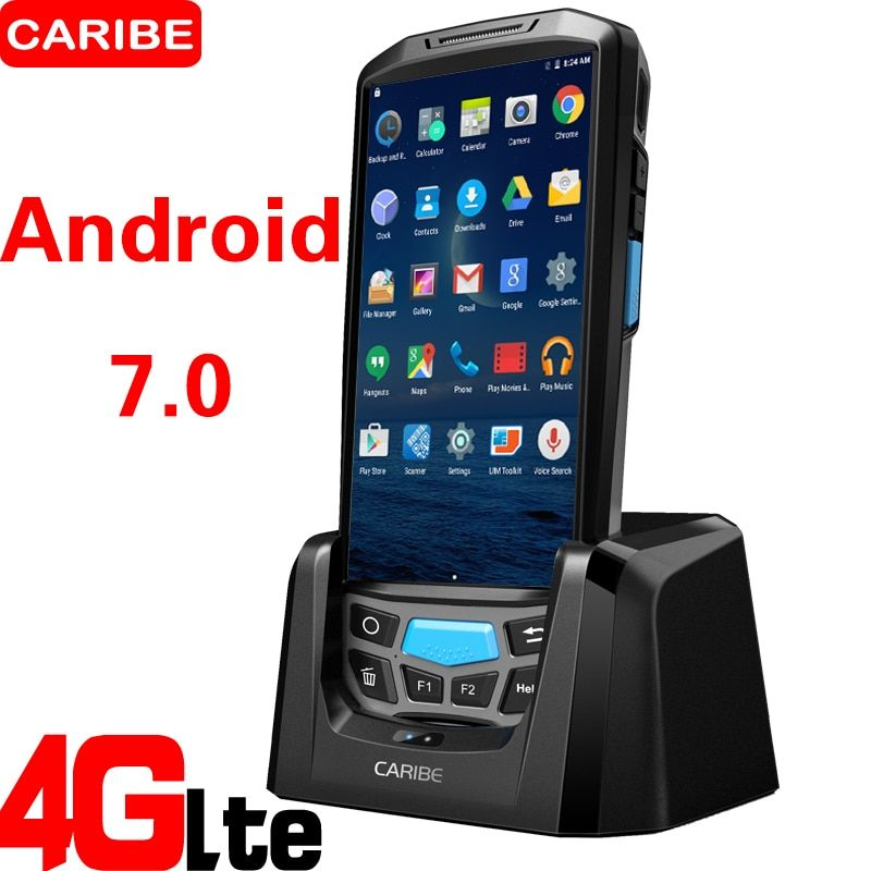 CARIBE PL-50L wifi / blue tooth / 4G rugged pos android barcode scanner mobile pda with built-in printer