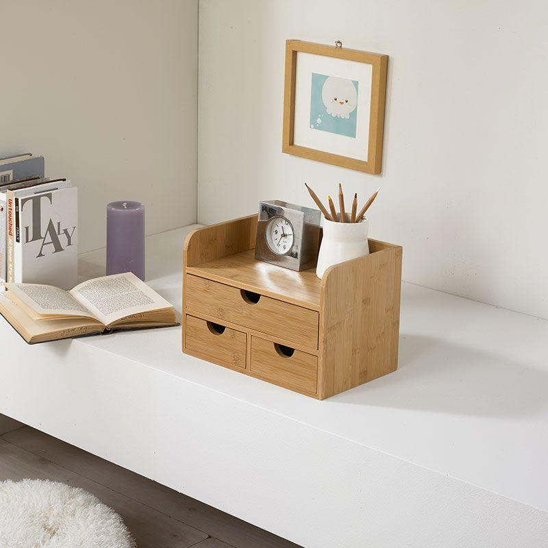 Multi-fonction bambou Table organisateur stylo conteneur cosmétiques articles divers boîte de rangement avec tiroirs bois naturel boîte à mouchoirs