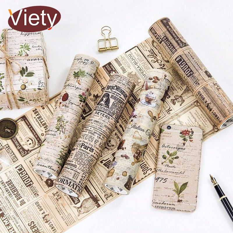 20 cm * 5 m planificador de periódico Del Vintage Hermoso flores decoración scrapbooking washi tape DIY cinta adhesiva cinta adhesiva