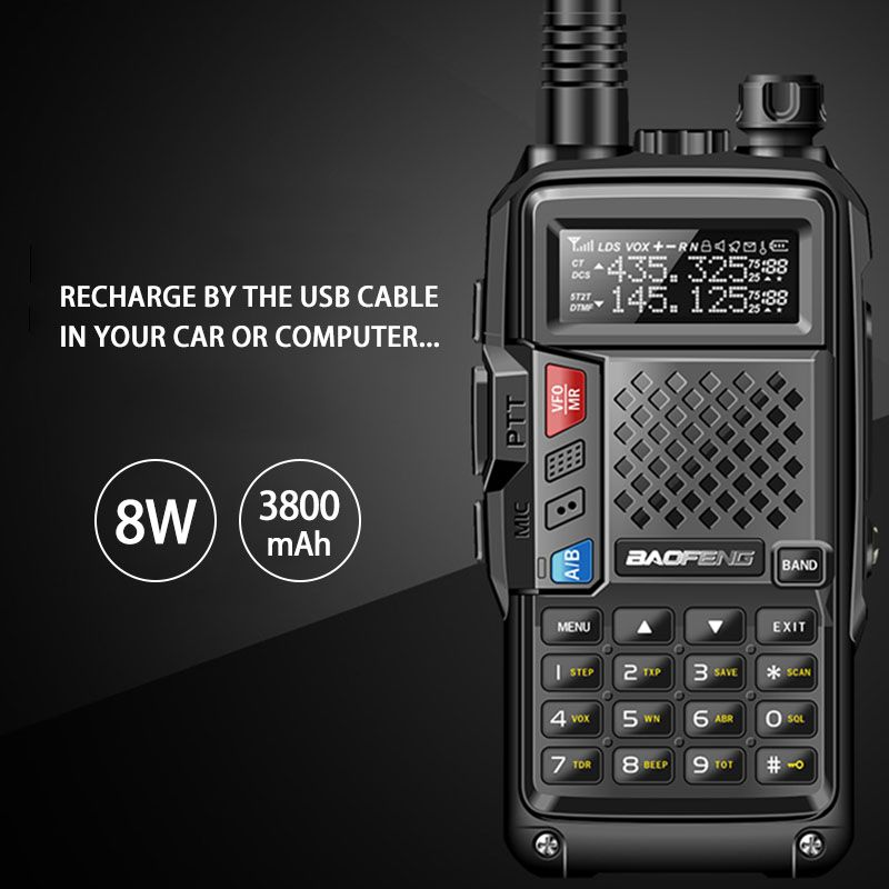 BaoFeng BF-UVB3 Plus 8W Powerful Walkie Talkie cb ham Two Way Radio 128CH 136-174Mhz & 400-520Mhz 10KM Long Range Upgrade UV 5R