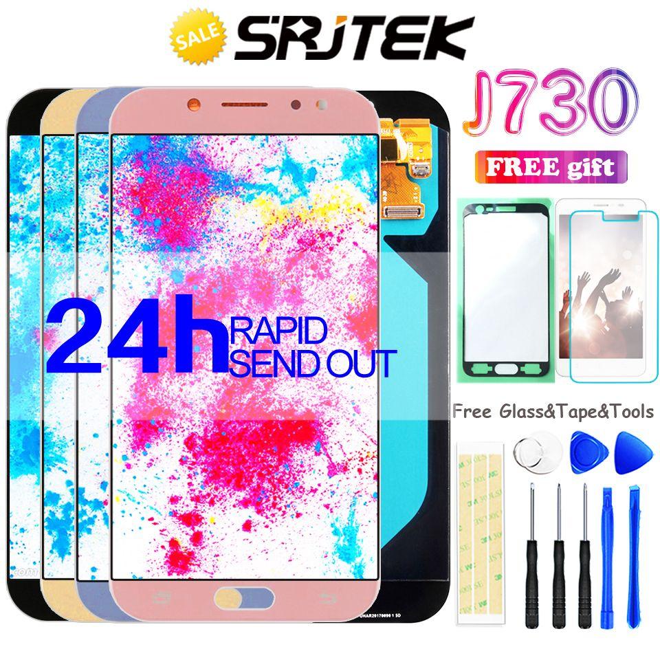 J730 AMOLED For SAMSUNG Galaxy J7 Pro Display J730 Display Touch Digitizer Sensor With Frame J730 Glass J7 Pro 2017 J730F LCD