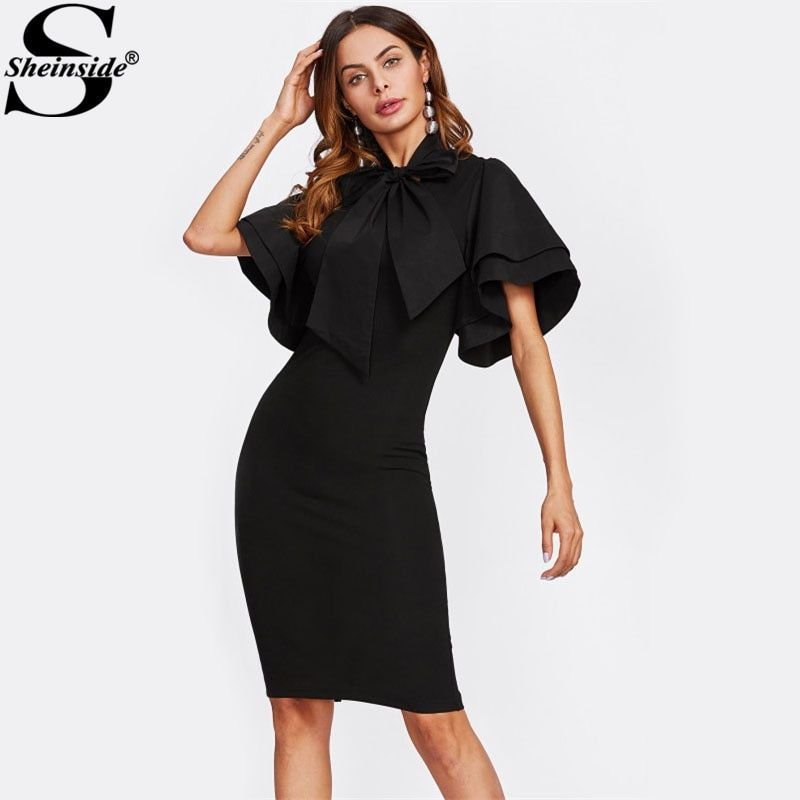 Sheinside Bow Tie Neck Layered Flare Sleeve Pencil Dress 2017 Black Fashion Stand Collar Short Sleeve Elegant Party Dress