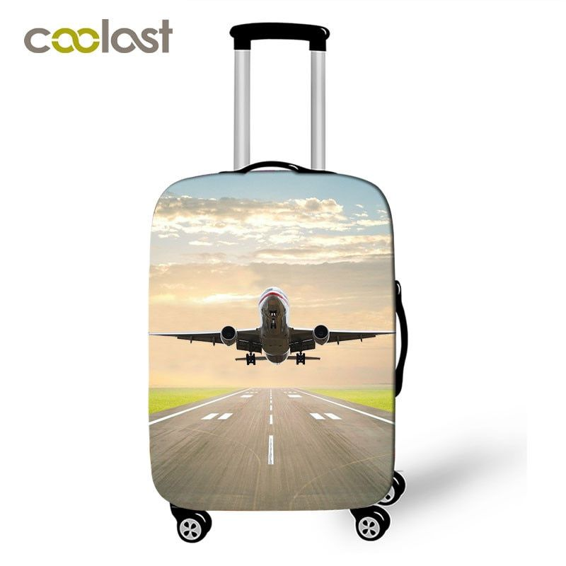 Cool Aircraft Travel Suitcase Covers Men Airplane Elastic Luggage Protective Covers Helicopter valise bagages roulettes Covers