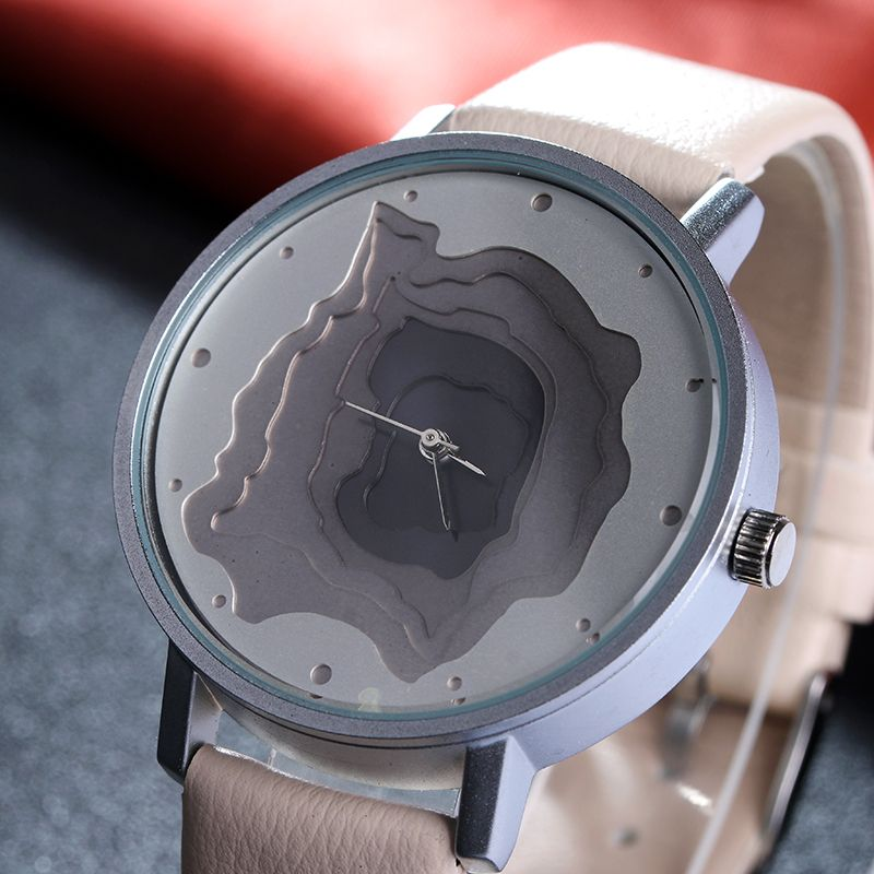 3D Face wood grain Dial unisex watch Ladies Casual wristwatch Vintage Leather Band watch Women Quartz-watch Famale casual Clock