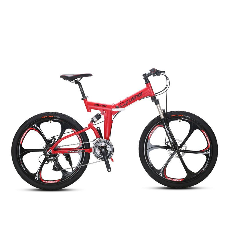 RD100 Red Mans and Womans Folding Mountain Bike Bicycle 6061 Aluminium Frame Full Suspension 24 Speeds Double Disc Brakes