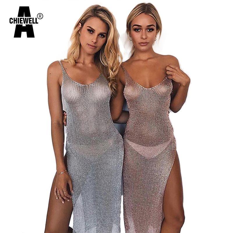 Achiewell D'été Sexy Femmes Robe Profonde V Cou Dos Creux-out Haute Fente Ourlet Moderne Métallique Argent/Noir/or/Rosegold Robes