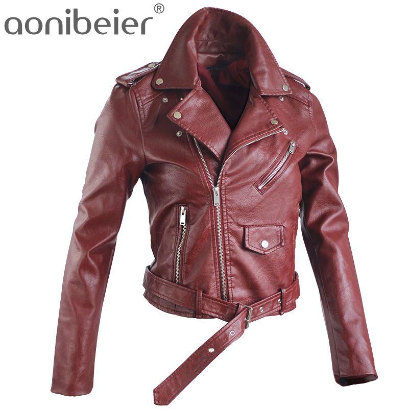Aonibeier осень уличная Для женщин короткие мыть Босоножки из искусственной PU кожи на молнии яркий Цвета дамы Базовые куртки для женщин Slim Fit Для...