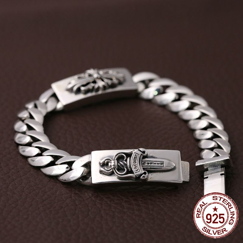 S925 sterling silver men's bracelet personality fashion classic jewelry retro punk style domineering dagger shape 2018 new gift