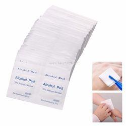 100 Pcs/Box Alcohol Wipe Pad Medical Swab Sachet Antibacterial Tool Cleanser HTY07