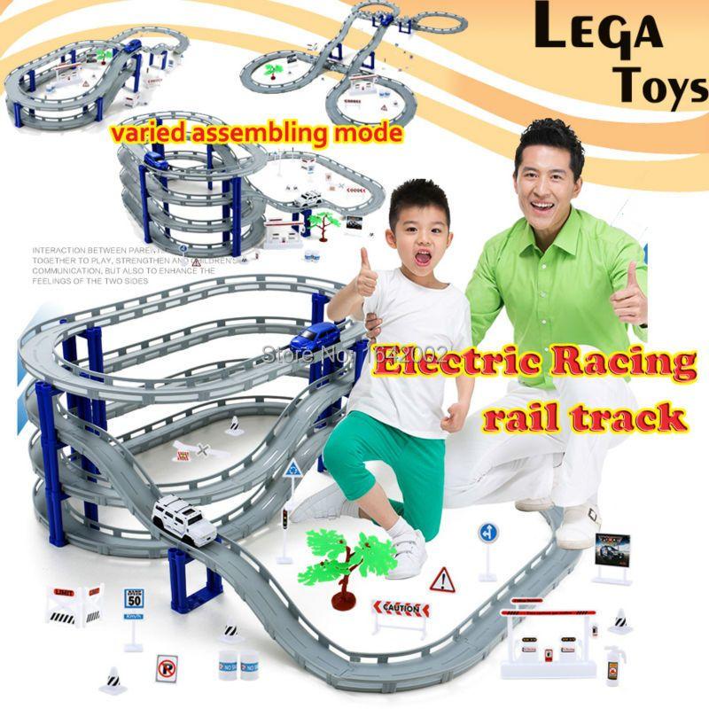 Электрический гоночный вагона дети поезд трек модель игрушки Детские железной дороги гоночный трек автомобильного транспорта здание слот ...