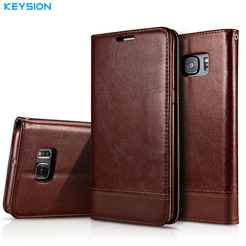 KEYSION Flip Case for Samsung Galaxy S7 S7 Edge PU Leather Luxury Wallet Card Slots Soft TPU Kickstand Back Cover for G930 G935
