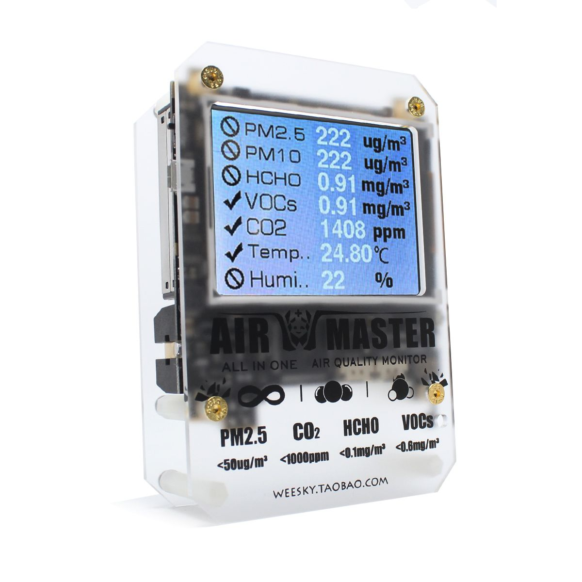 Air Master AM7 Plus Gas Sensor Home PM2 Tester Detector DART Formaldehyde 2-FE5 VOC Sensirion 0053 CO2 Open Source