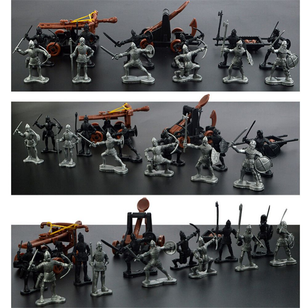New 12pcs Ancient Toy Soldiers & 3pcs Toy Chariot Catapult Ballista Weapons Set Gift to Children boy kid Wholesale