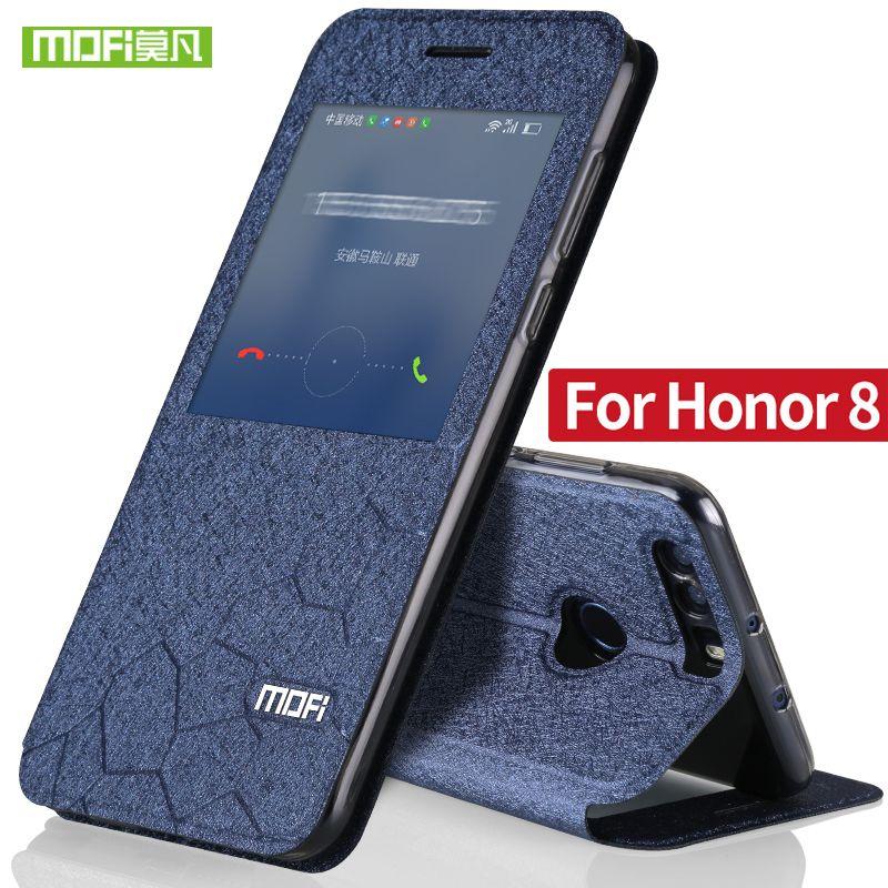 Huawei Honor 8 couverture de cas de secousse glitter en cuir mofi Honneur 8 cas silicone transparent TPU retour ultra mince metall couverture logement