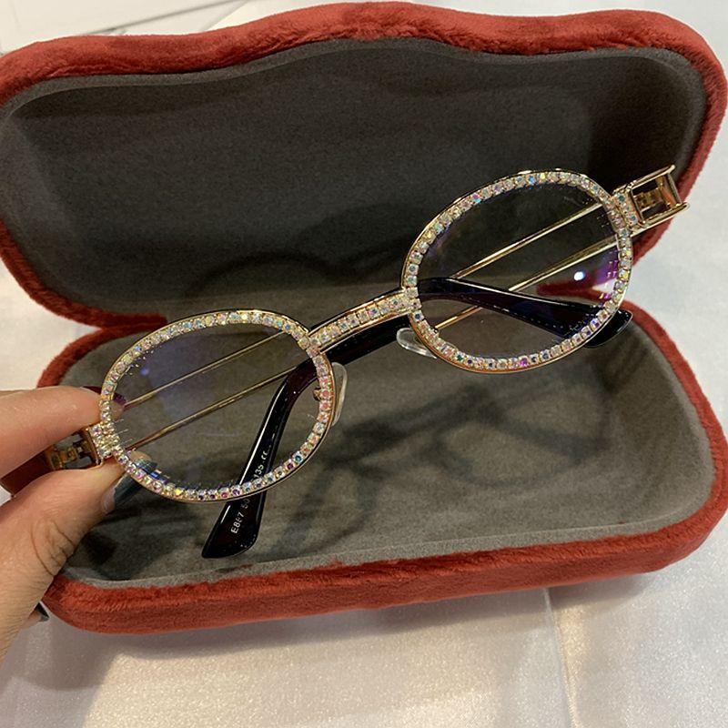 2019 Blu-Ray Pretection rétro rond lunettes de soleil femmes Vintage Steampunk lunettes de soleil hommes clair lentille strass lunettes de soleil Oculos