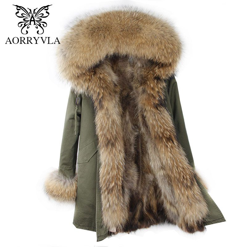 AORRYVLA 2018 Winter Women Hooded Fur Parka Natural Raccoon Fur Collar Hooded Long Coat Detachable Raccoon Fur Liner Warm Jacket