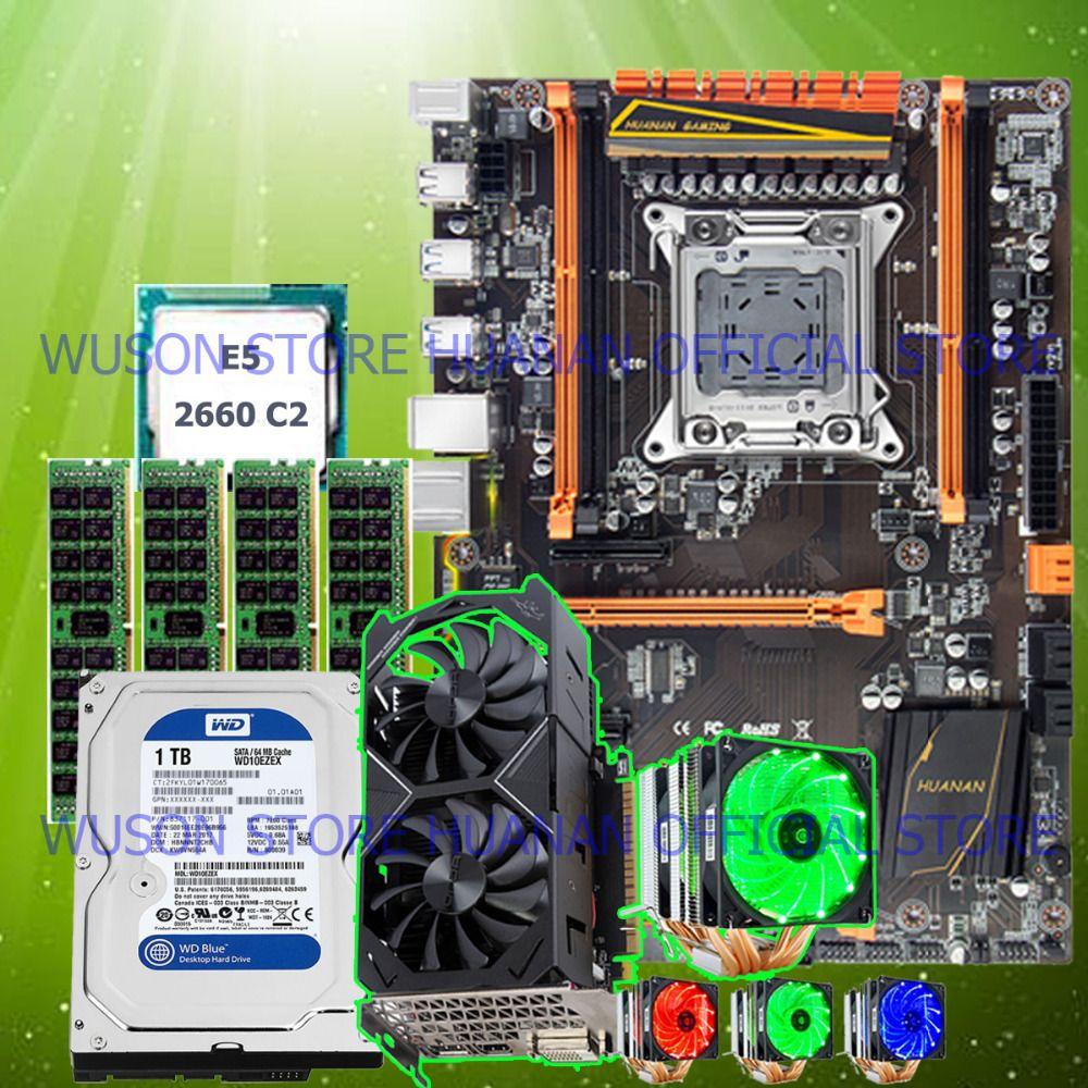 HUANAN ZHI deluxe X79 motherboard mit M.2 slot CPU E5 2660 SR0KK CPU kühler RAM 32G (4 * 8G) 1 TB SATA HDD GTX1050Ti 4G video karte