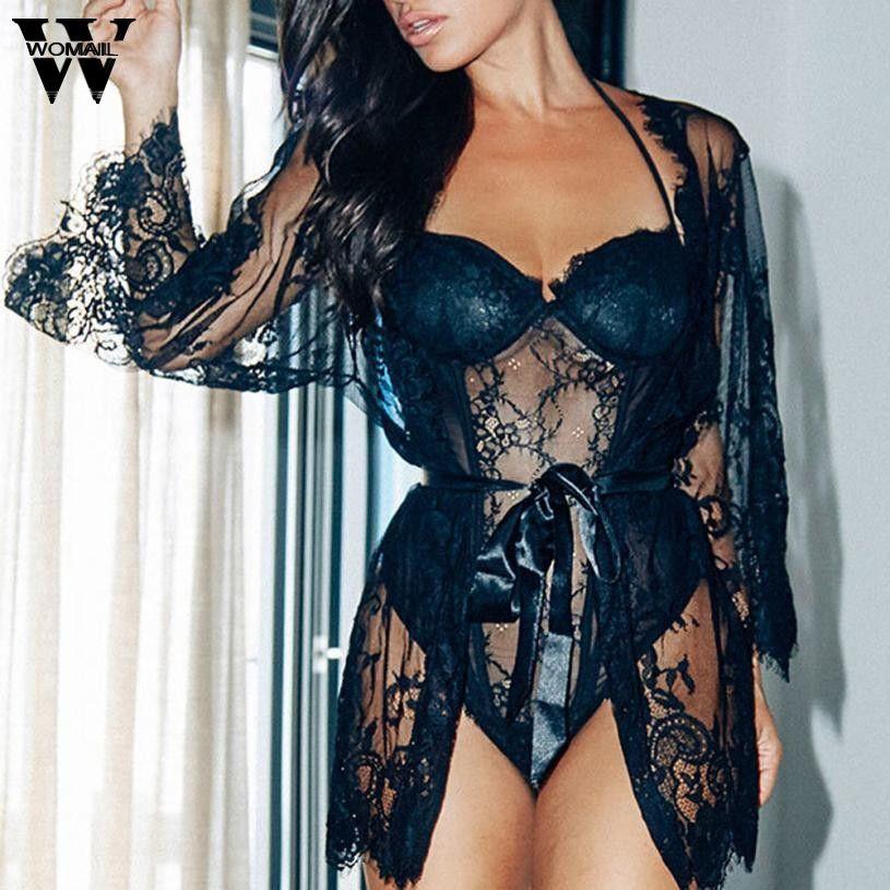 2018 sleepwear women nightdress Women Lingerie Sleepwear Underwear Lace Coat Nightwear +G-string dec29