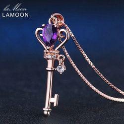 LAMOON брелок в форме короны Цепочки и ожерелья 6x4mm 0.4ct Природный Teardrop аметист 925 пробы Серебряные ювелирные изделия розового золота Цвет S925 ...