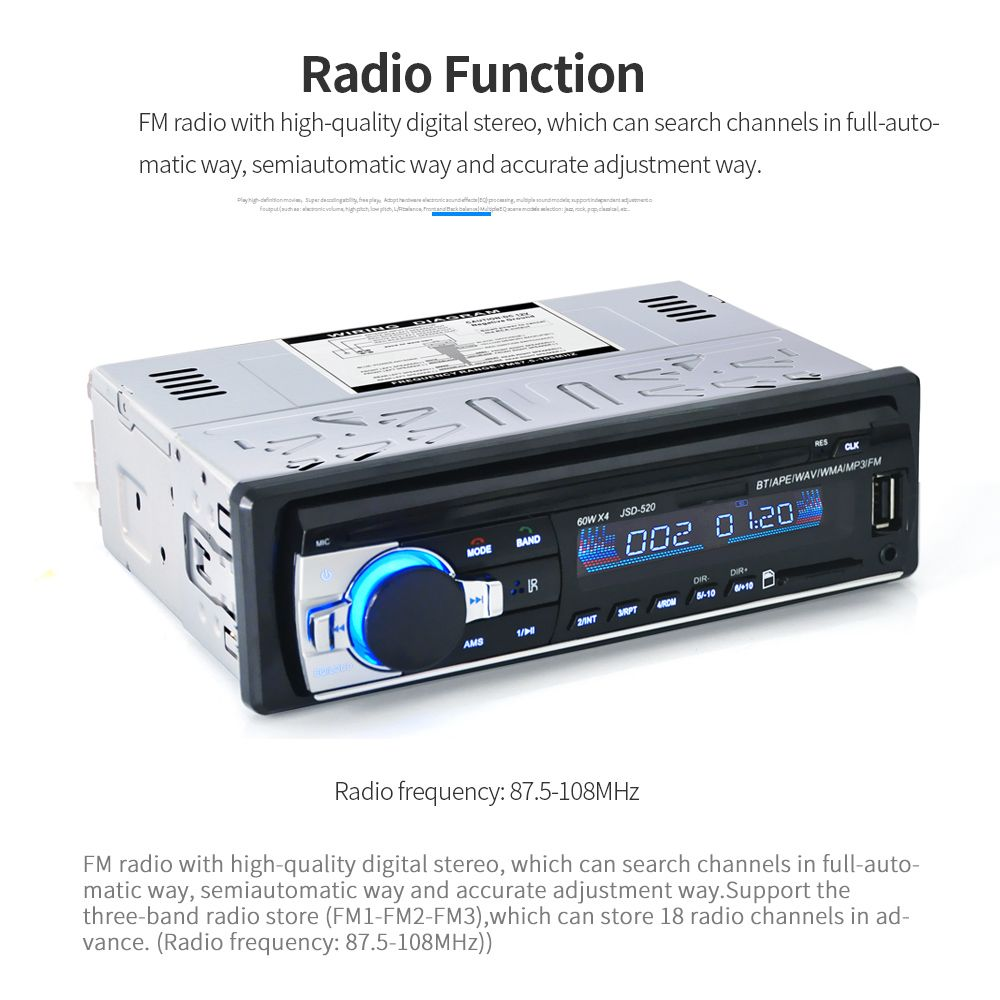 Car Stereo BT Radio Audio Player Receiver In-Dash FM Aux Input WMA WAV MP3 Player with SD/USB Port