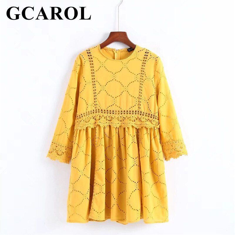 GCAROL 2018 Women Hollow Out Crochet Lace Jumpsuits High Wasited Summer Yellow <font><b>Bright</b></font> Color Baby-doll Playsuits With Pockets