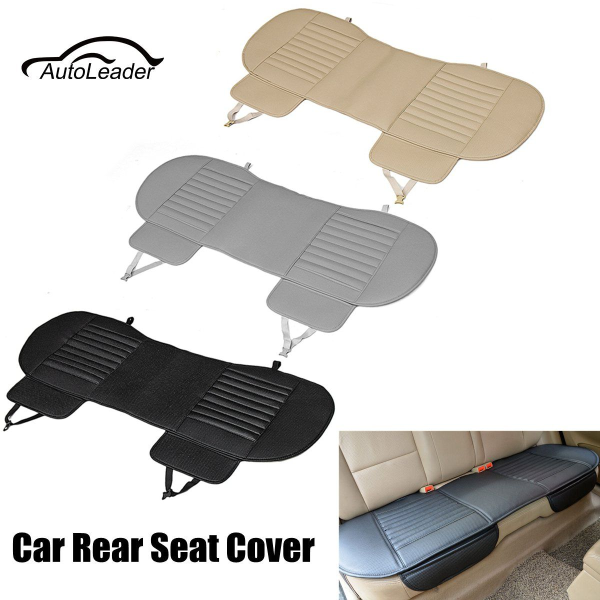 Universal Bamboo Charcoal Cushion Pad PU Leather Car Rear Seat Cover Four Seasons Breathable Therapy Mat Black Grey Beige