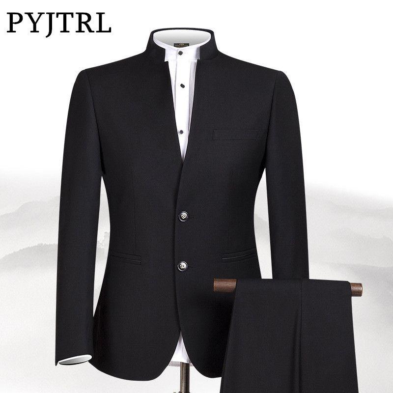 PYJTRL Neue S-4XL Männer Chinesischen Tunika Kragen Bräutigam Anzug Formale tragen Kleid Slim Fit Herren Anzüge Bräutigam Hochzeit Blazer Hosen Homme