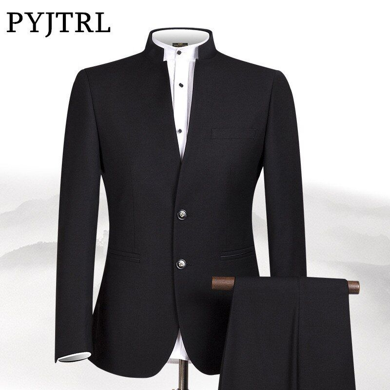 PYJTRL New S-4XL Men Chinese Tunic Collar Bridegroom Suit Formal Wear Dress Slim Fit Mens Suits Groom Wedding Blazer Pants Homme