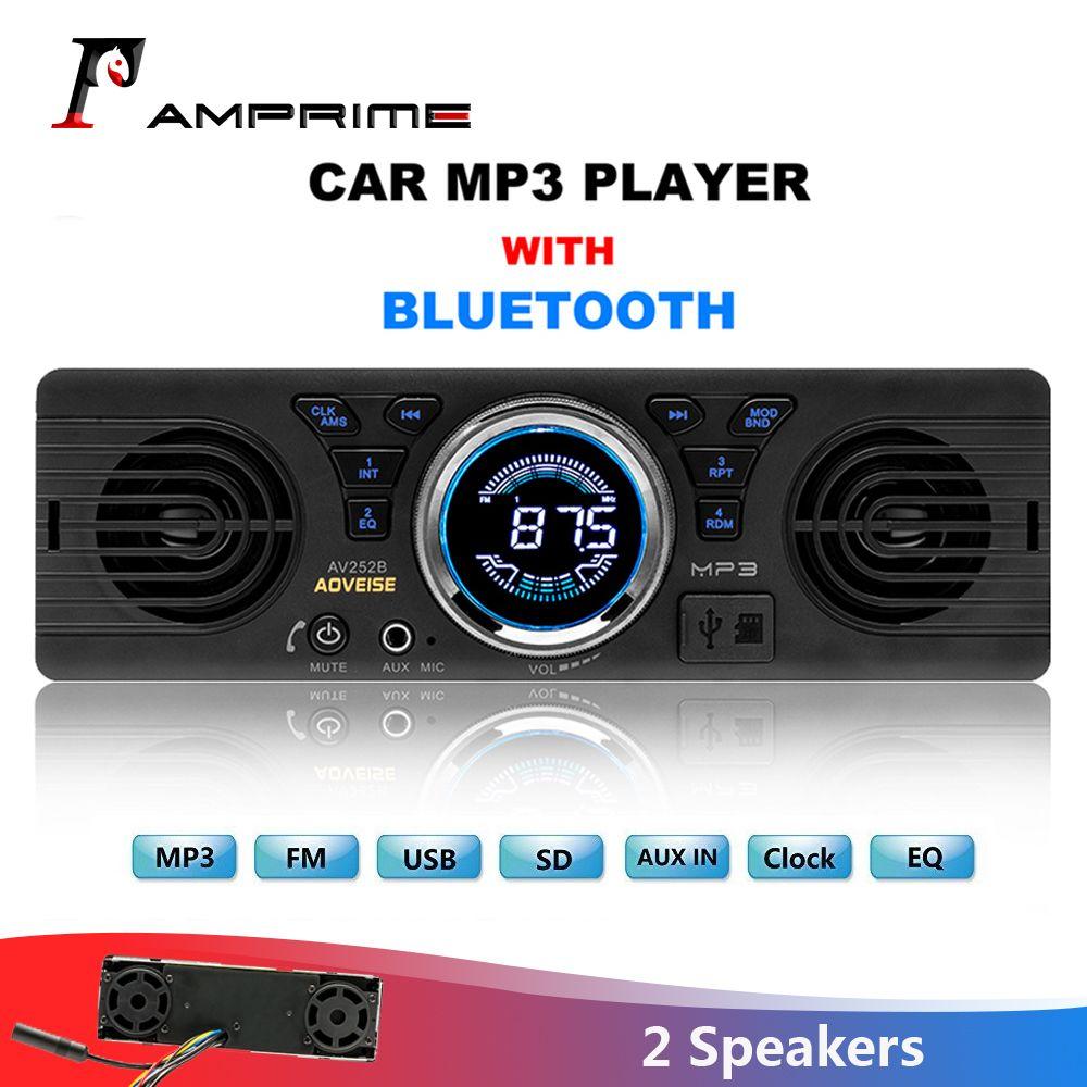 AMPrime autoradio AV252B universel 1 din In-dash lecteur Audio MP3 haut-parleur intégré stéréo FM Support Bluetooth Aux USB/TF carte