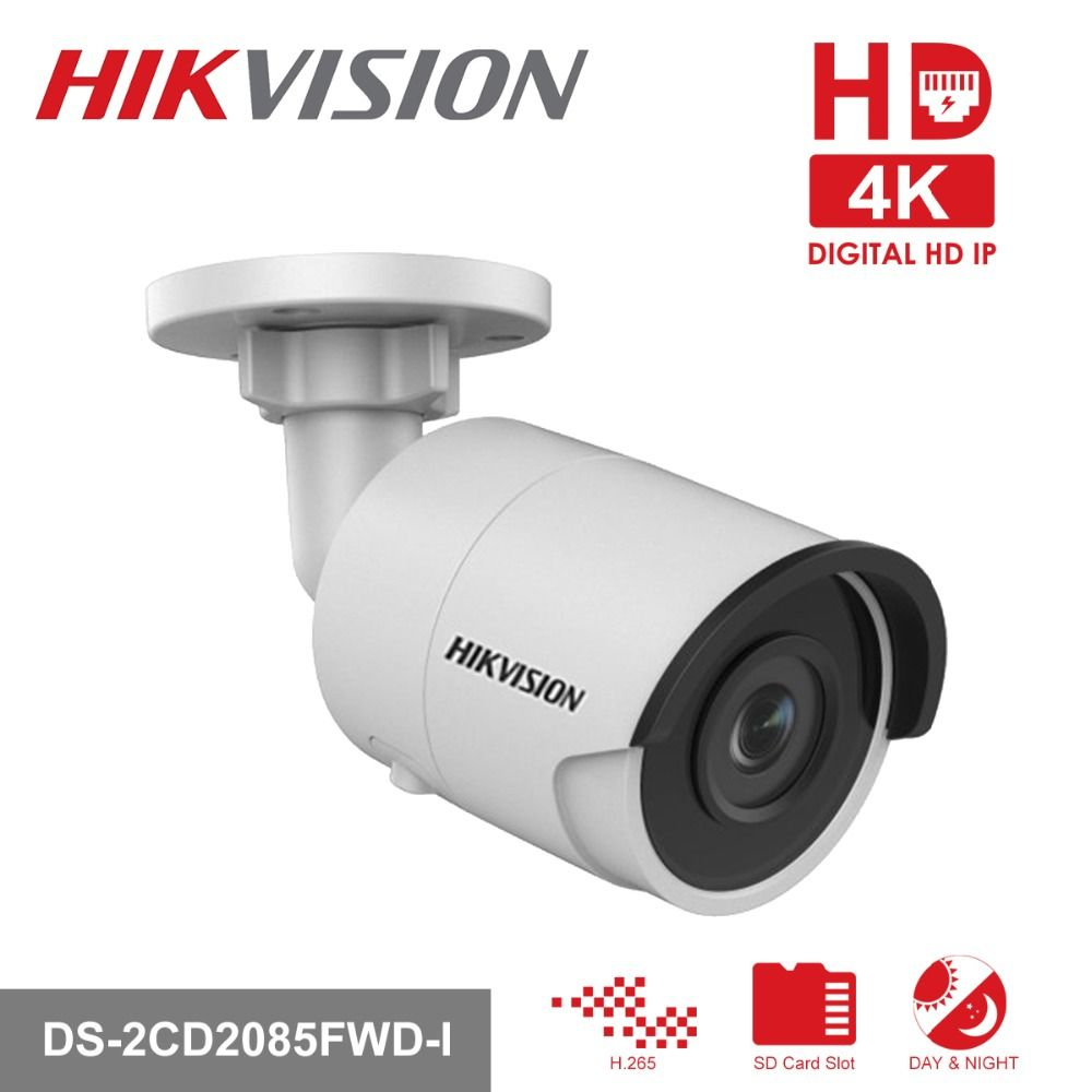 HIKVISION 8MP H.265 Network Bullet IP Camera DS-2CD2085FWD-I 3D DNR Security Camera with High Resolution 3840 * 2160