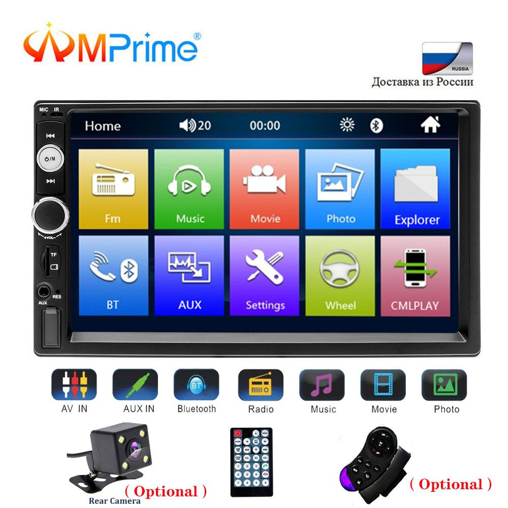 AMPrime universel 2 din voiture lecteur multimédia Autoradio 2din stéréo 7 écran tactile vidéo MP5 lecteur Auto Radio caméra de sauvegarde