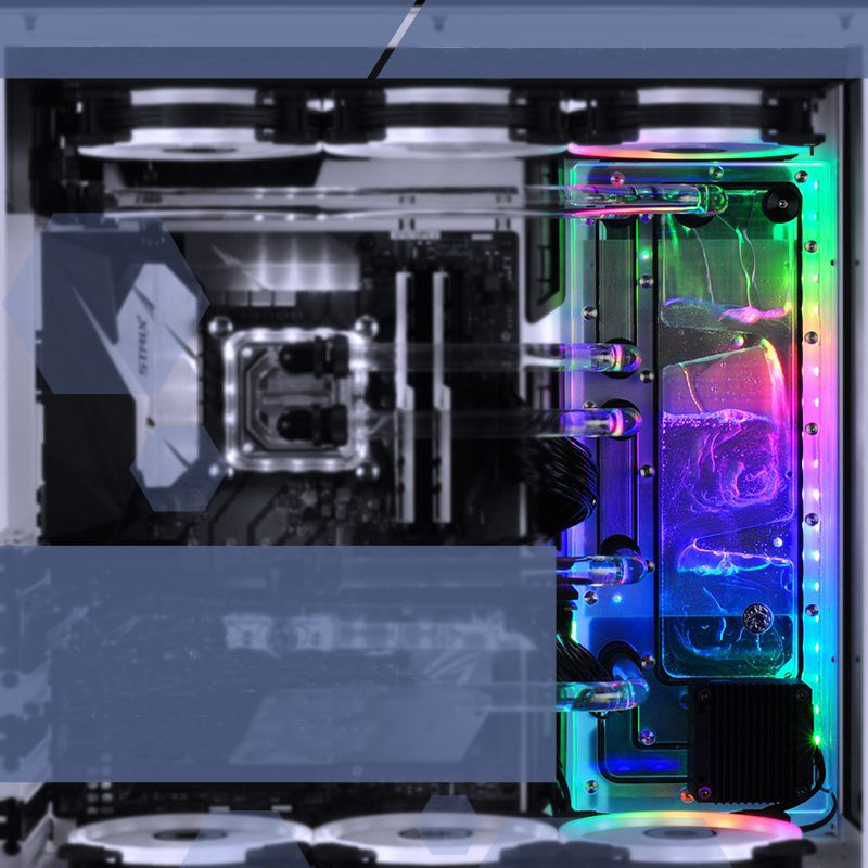 BYKSKI Acrylic Board Water Channel Solution use for LIAN LI O11 Dynamic Case for CPU and GPU Block / 3PIN RGB / Combo DDC Pump