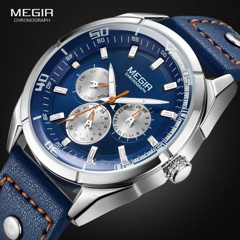 Genuine MEGIR quartz male watches Genuine Leather watches racing men Students game Run Chronograph Watch male glow hands
