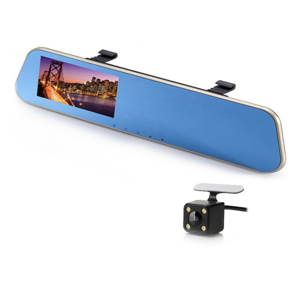 4.3'' inch Rearview Mirror Car Dvr Camera Full HD 1080P Night Vision Digital Video Recorder Dual Lens Registrar Camcorder
