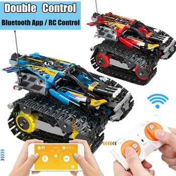 Motor APP Control Power Up Function RC TRACKED RACER Electric fit technic Speed car kits Building Block bricks Model kid gift