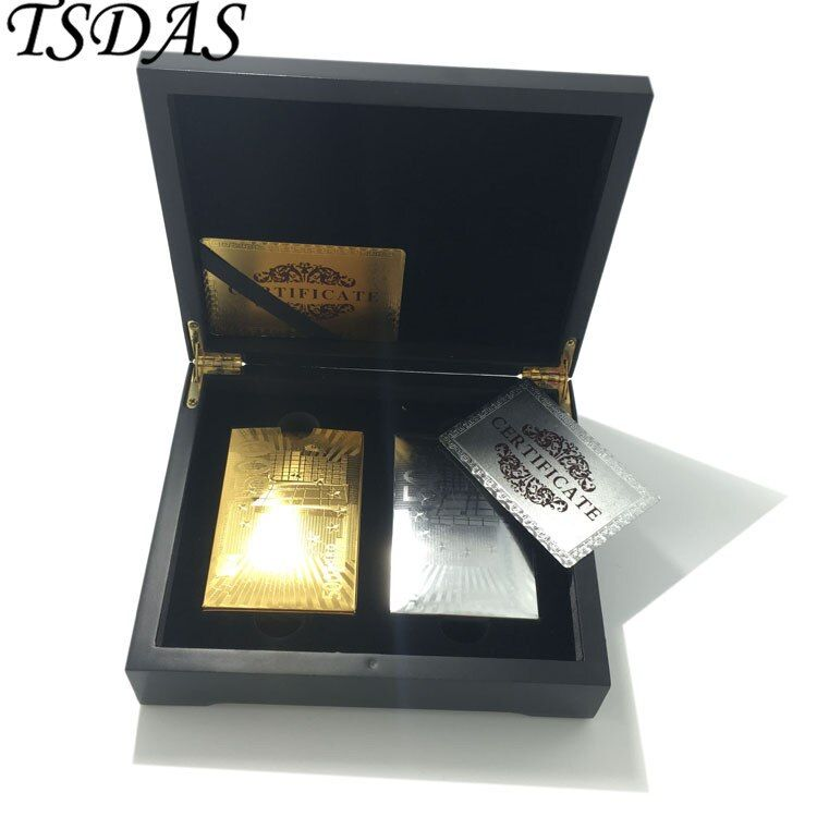 De luxe Nouvelle Année Cadeau 24 k Or Poker Carte Or Plaqué Or & Argent 500 Euro, 2 pcs Or Carte À Jouer Pack en Caisse En Bois